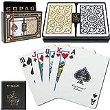 Copag Poker Size Regular Index 1546 Playing Cards 2 decks (Black Gold Setup) (Color: Black / Gold, Tamaño: Poker)
