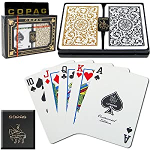 Copag Poker Size Regular Index 1546 Playing Cards (Black Gold Setup) Picture