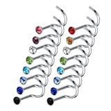 Rbenxia 20G 316L Nose Studs Rings 2.2MM Rhinestone Stainless Steel Nose Body Piercing Rings 20 Pcs Random Color for Unisex