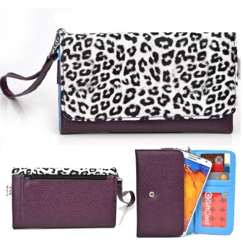 Exxist® Metro Safari Series. Patent Leather Wallet / Clutch For Archos 43 Internet (Color: White Leopard / Purple) -Esmlmtl1