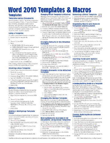 Microsoft Word 2010 Templates & Macros Quick Reference Guide (Cheat Sheet Of Instructions, Tips & Shortcuts - Laminated Card)