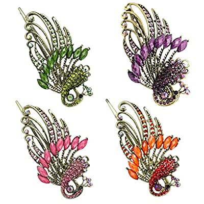 Leegoal(TM) Lovely Retro Vintage Crystal Butterfly Hair Clips and Peacock Style Hair Pins
