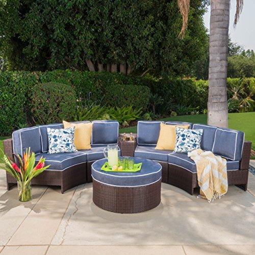 Riviera Portofino Outdoor Patio Furniture Wicker 6 Piece Semicircular Section