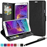 LK Samsung Galaxy Note 4 Case - Luxury Wallet PU Leather Case Flip Cover Built-in Card Slots & Stand for Samsung Galaxy Note 4 with Free Stylus Pen (Leather Case Black)