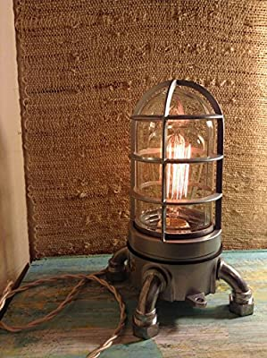 """""""VAPOR TOUCH"""" 2.0 Touch dimmer Industrial lamp. Very solid Vapor tight Nautical desk lamp, Edison Lamp, steampunk loft lamp"""