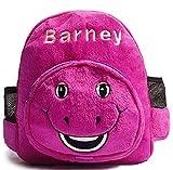 Kids Cute Short Plush Backpack Purple Barney