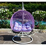 LAVENDER Egg Shape Wicker Rattan Swing Chair Hanging Hammock 2 Person