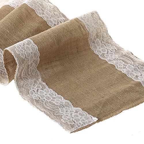 Ling 39 s moment natural hessian burlap table runner 108 inch for 85 inch table runner