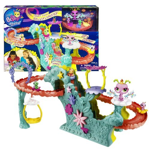 Hasbro Year 2012 Littlest Pet Shop Fairies Bobble Head Pet Figure Playset - FAIRY FUN ROLLERCOASTER With Soaring...