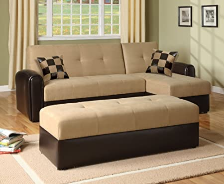 Adjustable Sectional Sofa with Reversible Chaise and Storage Wheat Microfiber