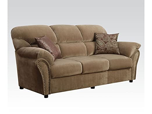 Brown Velvet Sofa with Two Pillows By Acme Furniture