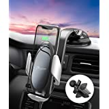 Wireless Car Charger Mount, PaiTree [Power Storage Technology] Automatic Sensor Car Phone Holder and Charger for Car Dashboard Air Vent, 10W Qi Fast Charging for iPhone 11 Pro Max/XS/XR, Samsung S10+ (Color: Black)