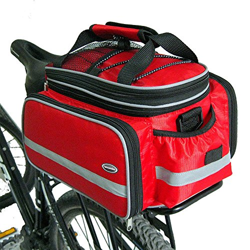 Tancendes Bike Rear Bag Lengthened Shoulder Strap waterproof Nylon Bicycle Seat Trunk Bag with Raincoat (Red) (Bike Rear Rack With Bag compare prices)