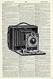 VINTAGE CAMERA - PHOTOGRAPHY - Illustration - Black and White Print - Art Print - Vintage Dictionary Art Print - Wall Hanging - Home Décor - Housewares - Book Print - 498Df