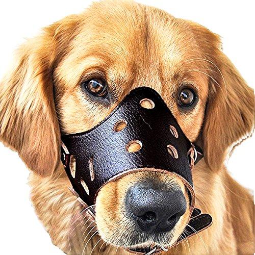 Pelle di cane museruola, cane regolabile nera muso nylon per la sicurezza per i grandi cani di piccola taglia cane di medie cucciolo a smettere di mordere abbaiare e masticare (Nero, L)