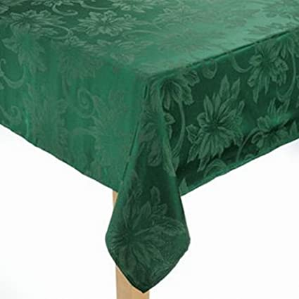 St. Nicholas Square Rich Green Poinsettia Fabric Oblong Tablecloth