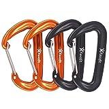 Favofit 12KN Heavy Duty Aluminium Wiregate Carabiner Clips, Pack of 4, Black and Orange
