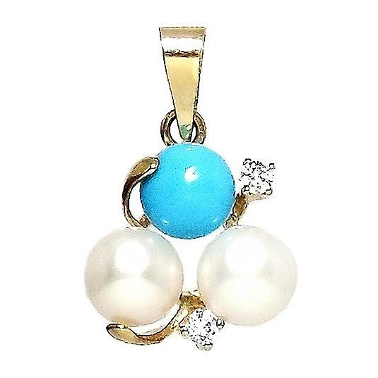 18k gold pendant 2 turquoise beads 1 2 zircons [284]