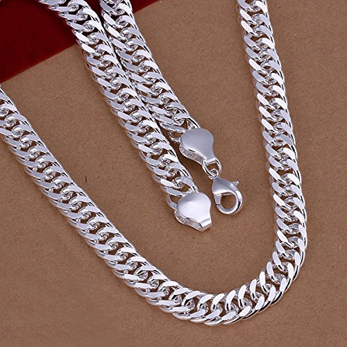 Fashion Jewelry Men's 925 Sterling Silver 10MM 20'' Curb Snake Chain Necklace by Preciastore