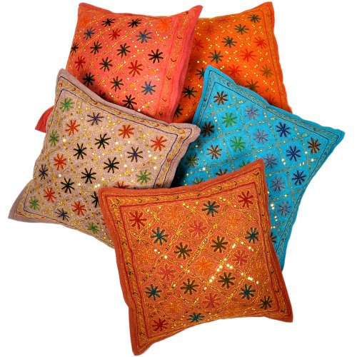 Little India Mirror Embroidery Hand Work Cotton 5 Piece Cushion Cover Set - Multicolor  (DLI3CUS454)