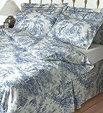 Toile de jouy blue oxford style pillow case single