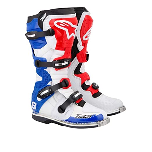Alpinestars - Bottes cross - TECH 8 RS WHITE RED BLUE - Couleur : Blanc/Bleu/Rouge - Pointure : 7