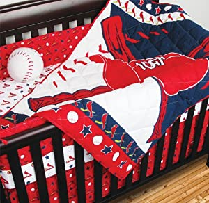 MLB St Louis Cardinals Crib Bedding - 4pc Baseball Baby Quilt Bed-in-Bag by Sports Coverage