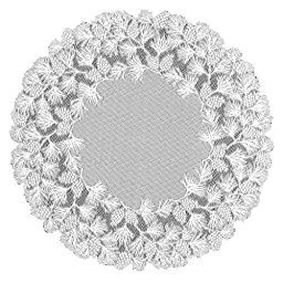 Heritage Lace Woodland 48-Inch Round Table Topper, White
