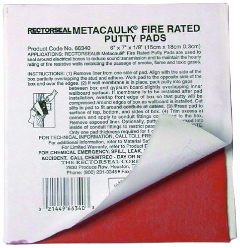 L.H. Dottie FRP67 Fire Rated Putty Pad, 6-Inch by 7-Inch by 1/8-Inch, Red, 20-Pack