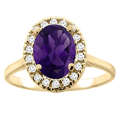 14ct Gold Natural Amethyst Halo Ring Oval 9x7mm Diamond Accent, sizes J - T