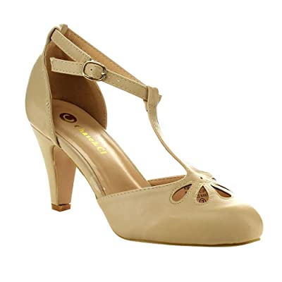 Chase & Chloe Kimmy-3 Women's Teardrop Cut-Out T-Strap Mid Heel Dress Pumps