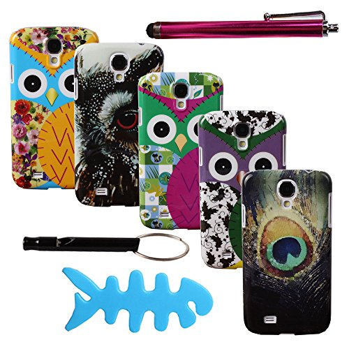 Teenitor(Tm) Samsung Galaxy S4 Case #04 Pack Of 5 Pcs Cute Cartoon Owl Bird Animal Pattern Hard Shield Snap On Case Protective Case For Samsung Galaxy S4 I9500 (With Stylu, Fishbone Earphone Cable Organizer And Whistle) Shipping From Usa