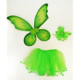 3 Piece Kids Pixie Fairy Costume Wing Tutu Hair-Tie (Pony-O). Select color: Green