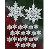 Set Of 24 Acrylic Iridescent Snowflake Christmas Ornaments Winter Wedding Favor Birthday Party Theme Decoration...