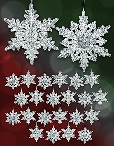 Set of 24 Acrylic Iridescent Snowflake Christmas Ornaments Winter Wedding Favor Birthday Party Theme Decoration for Girls - 4.5