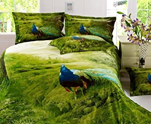 DIAIDI,Peacock Bedding Sets,Uniuqe 3D Oil Painting Comforter Set,Queen Size Bed Set,4Pcs