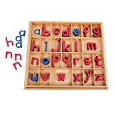 EOFEEL Montessori Wooden Movable Alphabet with Box (Red & Blue) (Color: Red&blue)