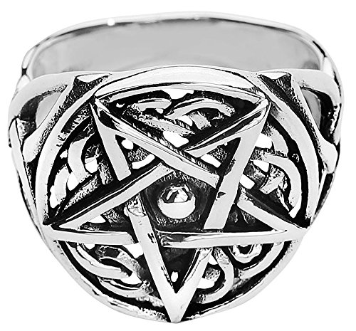 etNox magic and mystic Silver Celtic Pentagram Anello standard S