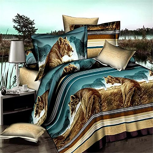 Grassland Lion Bedding Animal Print Comforter Polyester Queen Set 3D Oil Painting Duvet Cover Set 4Pcs Queen