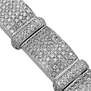 14K White Gold Mens Diamond Bracelet 20.00 Ctw