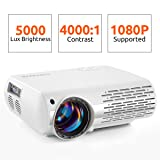 Crenova Video Projector, 2019 Upgraded HD Home Movie Projector, 550 ANSI (5500-6500 Lux) LED Projector 1080P Supported with 200'' Display for PC, Fire Stick, HDMI, PS4, TV Box, VGA, SD, AV, USB