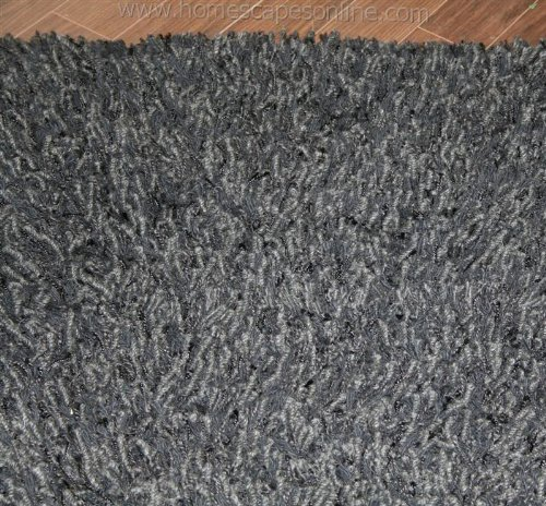 Homescapes Berrington - Pure New Wool Designer Thick Shaggy Rug Black Large 120 x 180 cm ( 4 x 6 Ft )