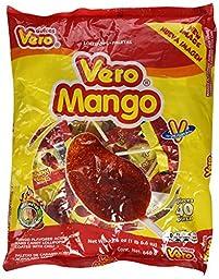 Vero Mango. Chili Covered Mango Flavored Lollipops. 40 Pieces