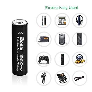 Bonai 4 Packs 2800mAh AA Rechargeable Batteries 1.2V Ni-MH Low Self Discharge - UL Certificate