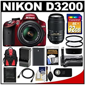 Nikon D3200 Digital SLR Camera & 18-55mm G VR DX AF-S Zoom Lens (Red) with 55-300mm VR Lens + 32GB Card + Case + Battery + Grip + HDMI Cable + Filters + Remote Kit