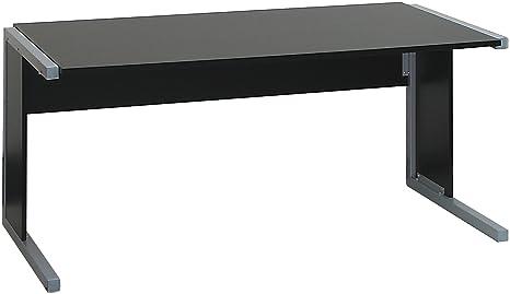 Black and White - 1600 mm Rectangular desk, desktop/sides - Black - Flat Packed