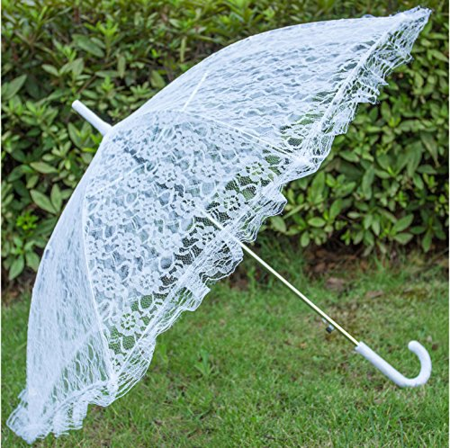 Aircee (TM) White Hollow Lace Parasol Wedding Dress Bridal Party Decoration Props Umbrella