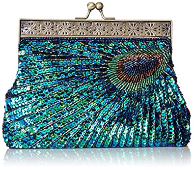 MG Collection Nisha Antique Beaded Sequin Peacock Clutch, Blue, One Size