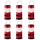 TANSOREN 6 PACK LED Camping Lantern, Solar USB Rechargeable or 3 AA Power Supply, Built-in Power Bank Emergency LED Light with