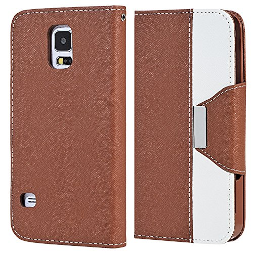 Mylife (Tm) Russet Brown And Fair White - Koskin Faux Leather (Card, Cash And Id Holder + Magnetic Detachable Closing + Hand Strap) Slim Wallet For New Galaxy S5 (5G) Smartphone By Samsung (External Rugged Synthetic Leather With Magnetic Clip + Internal S